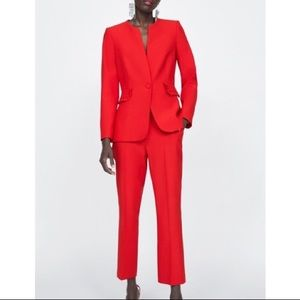 NWT Zara red suit jacket/pants with ruffles. S/M